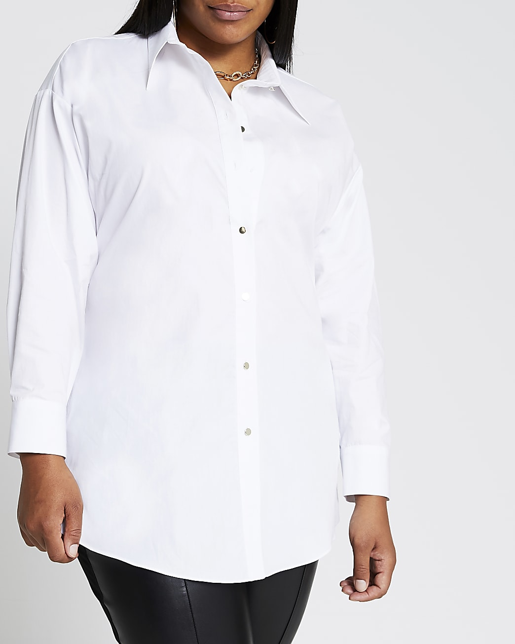 Plus white long sleeve open back shirt