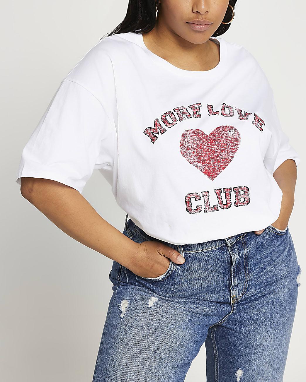 Plus white 'more love club' boyfriend t-shirt