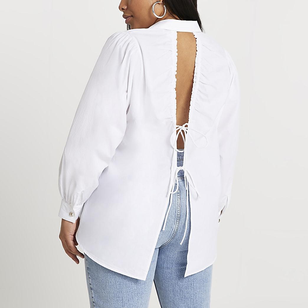 Plus white open back long sleeve shirt