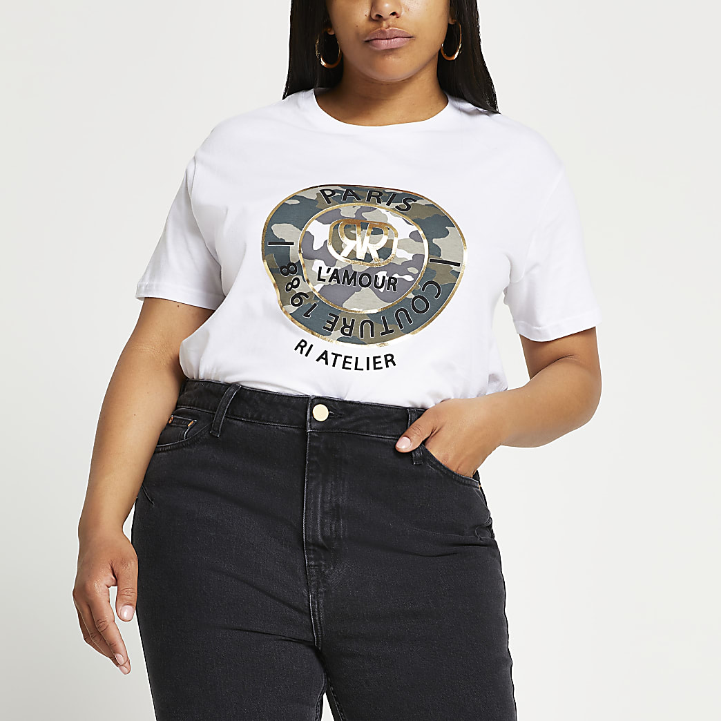 Plus white Paris camouflage t-shirt