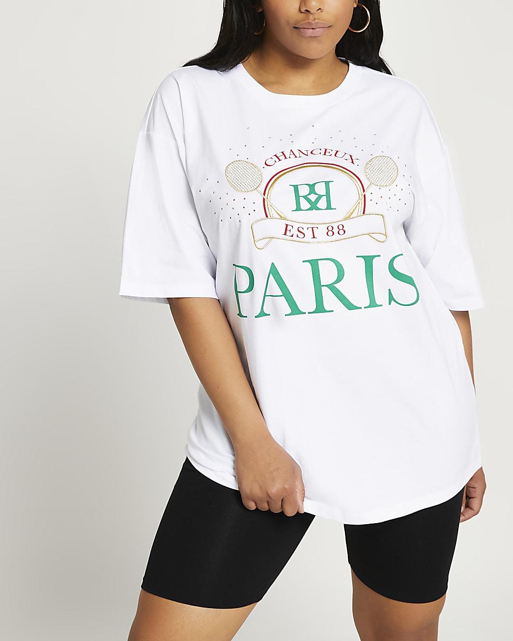 Plus white Paris tennis oversized t-shirt