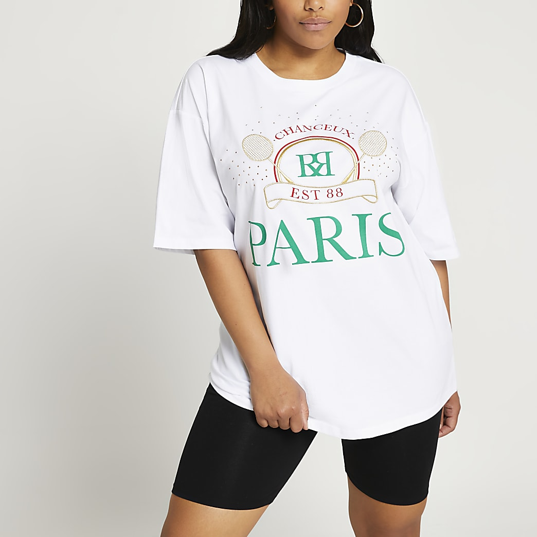 Plus white Paris tennis oversized t-shirt