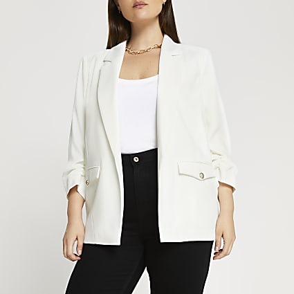 Plus white pocket detail blazer