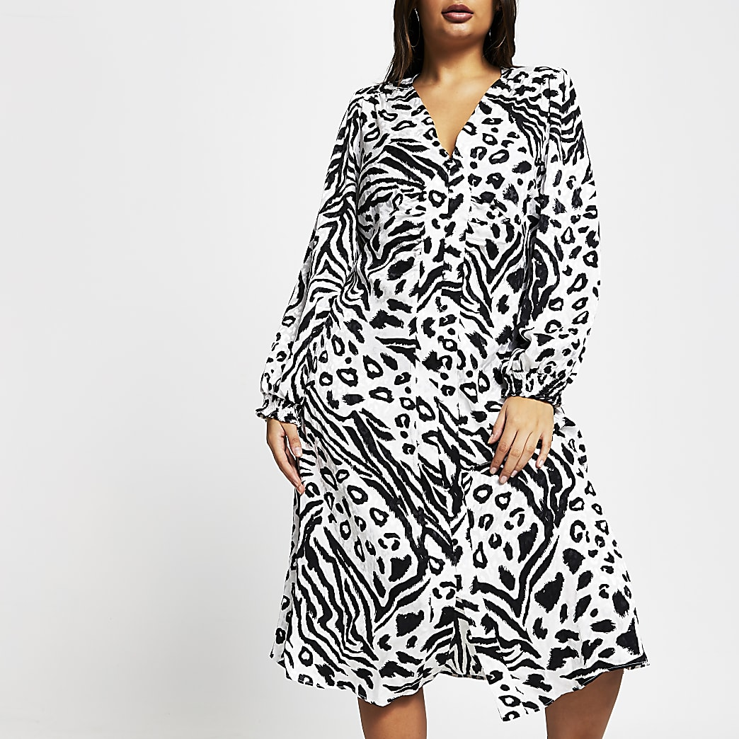 Plus white printed shoulder pad midi dress