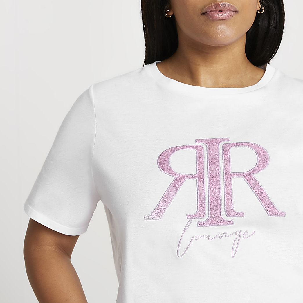 Plus white 'RIR' lounge t-shirt
