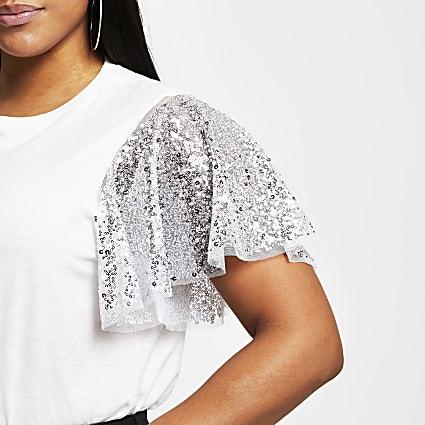 Plus White short sleeve sequin sleeve top