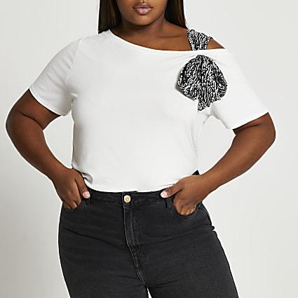 Plus white short sleeve tie shoulder t-shirt