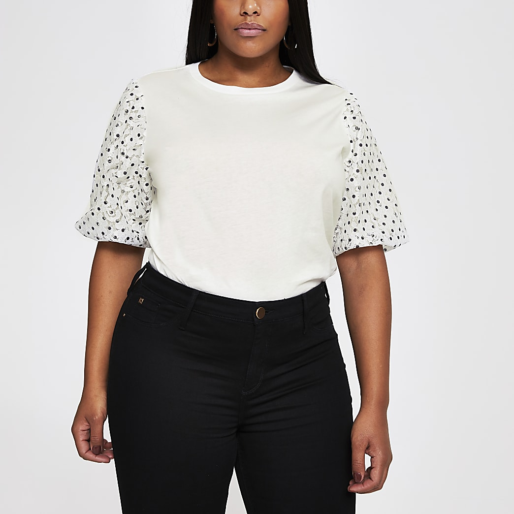 Plus white spot lace puffball t-shirt