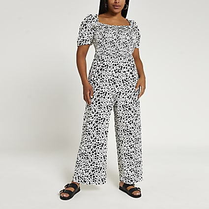 Plus white spot print shirred jumpsuit