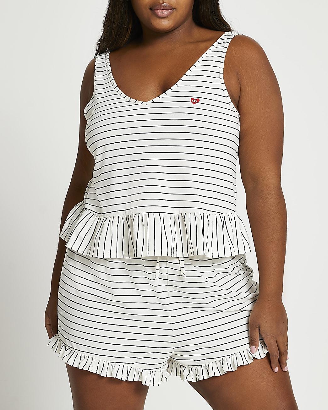 Plus white stripe pyjama set