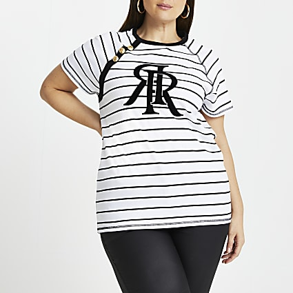 Plus white striped gold button t-shirt