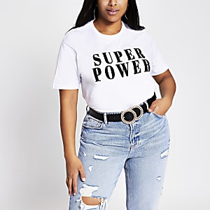 Plus – T-shirt « Super power » blanc
