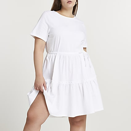 Plus white t-shirt tiered smock mini dress