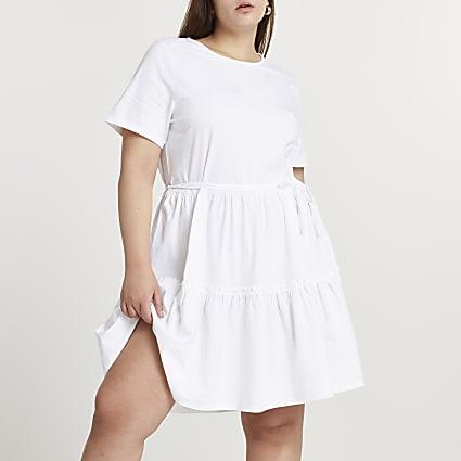 Plus white t-shirt tiered smock mini dress
