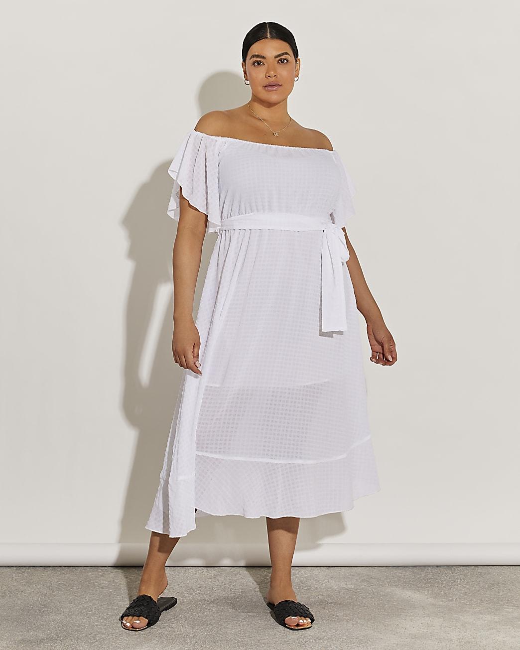 Plus white tie waist bardot maxi dress