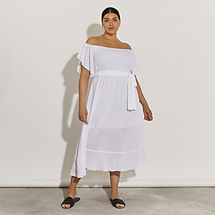 Plus white tie waist bardot maxi dress