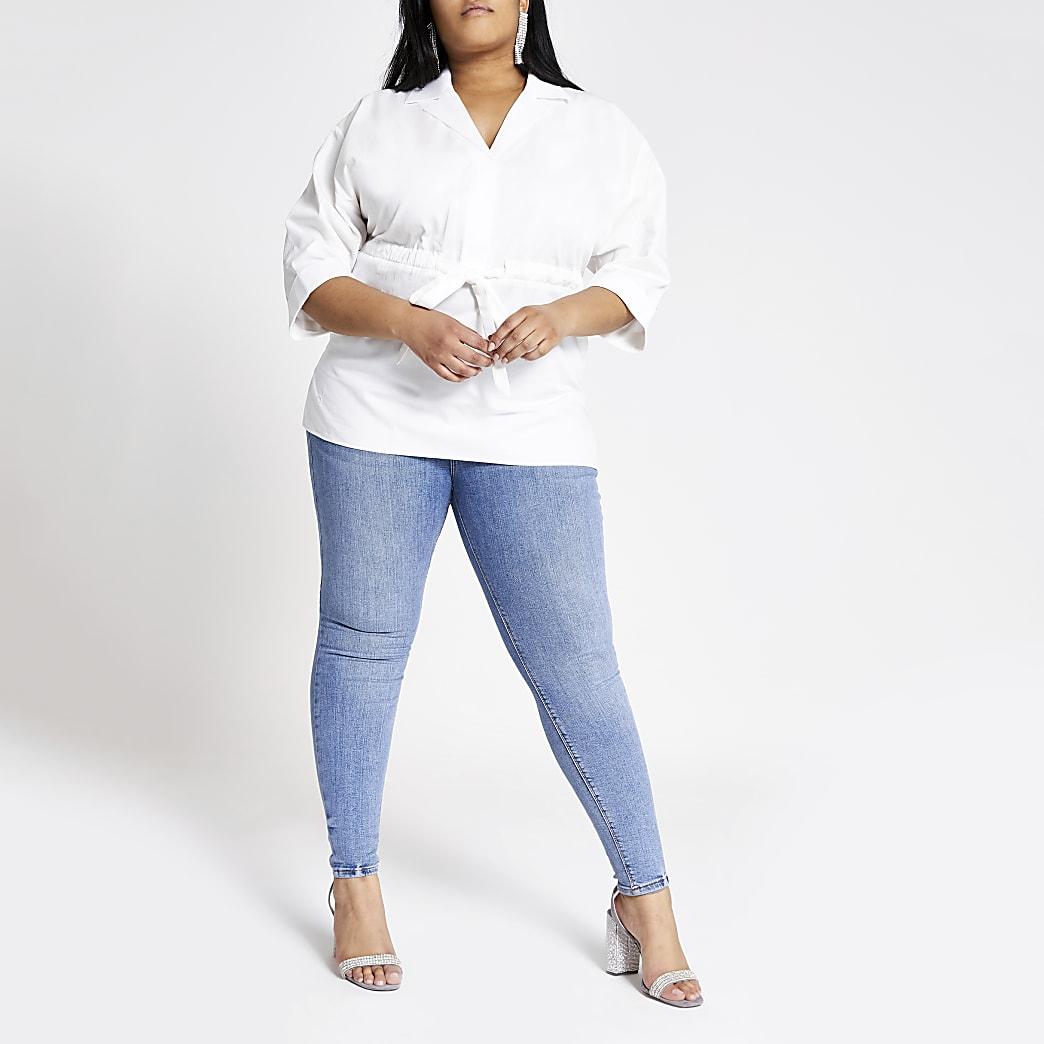 Plus – Chemise blanche nouée à la taille