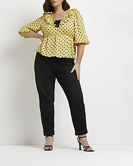 Plus yellow polka dot blouse