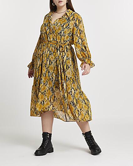 Plus yellow snake print shirt dress