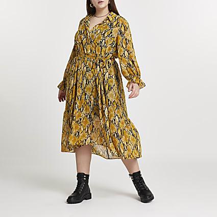 Plus yellow snake print smock shirt dress