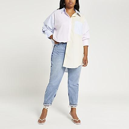 Plus yellow stripe chest pocket shirt