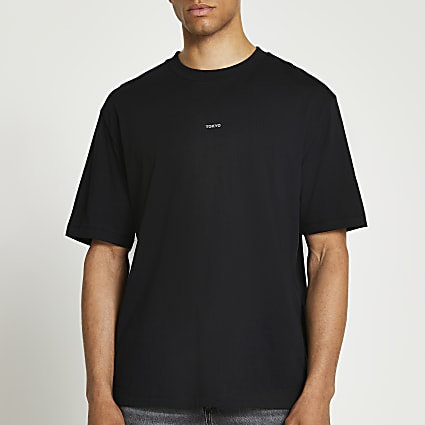 Premium essentials black oversized t-shirt