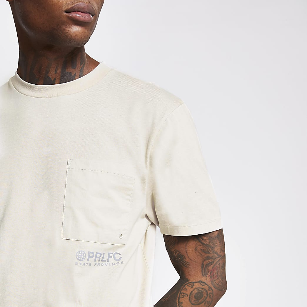Prolific beige chest pocket oversized T-shirt