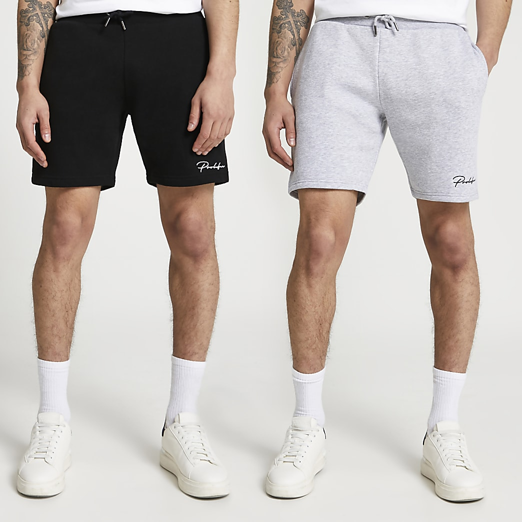 Prolific - Set van 2 zwarte en grijze slim-fit shorts