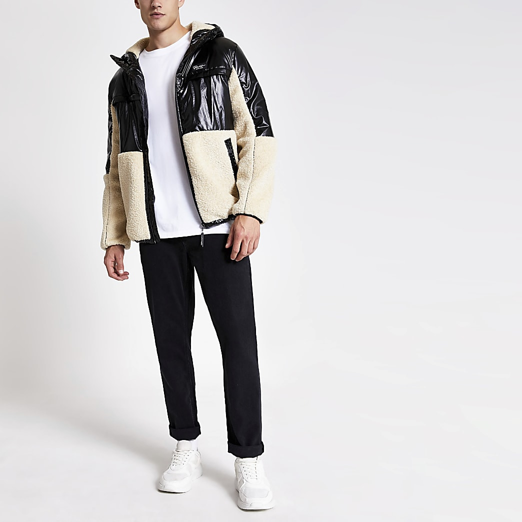 Prolific – Schwarze Jacke in Blockfarben mit Lammfellkapuze