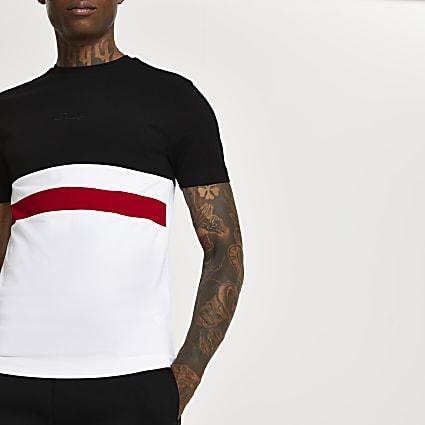 Prolific black colour block muscle t-shirt