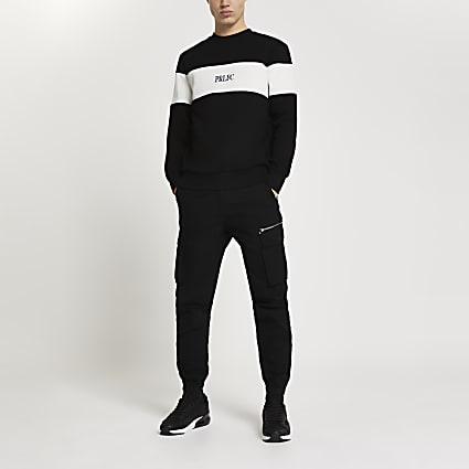 Prolific black colour block sweatshirt