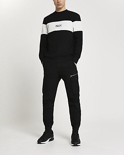 Prolific black colour block sweatshirt