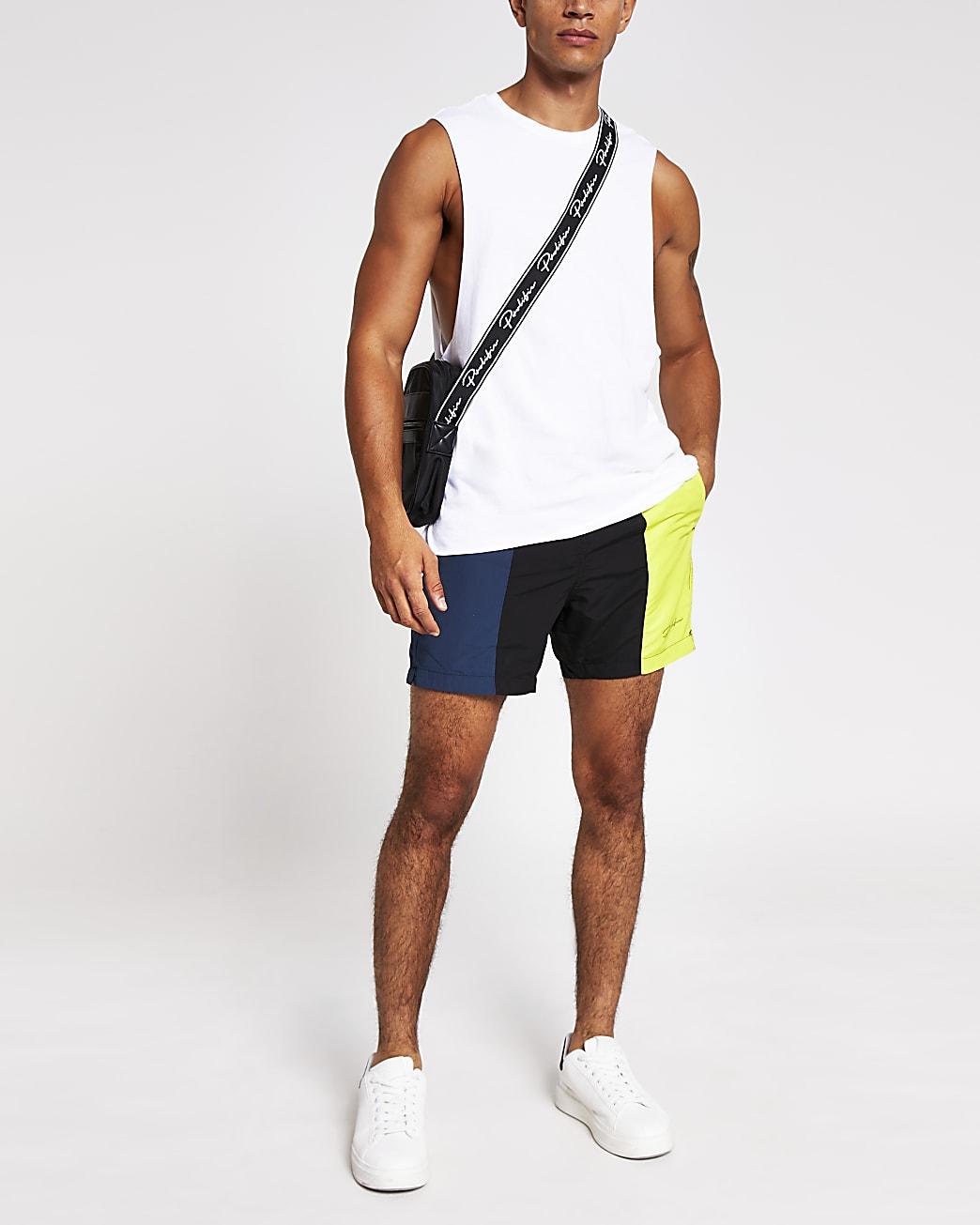 Prolific black colour block swim shorts
