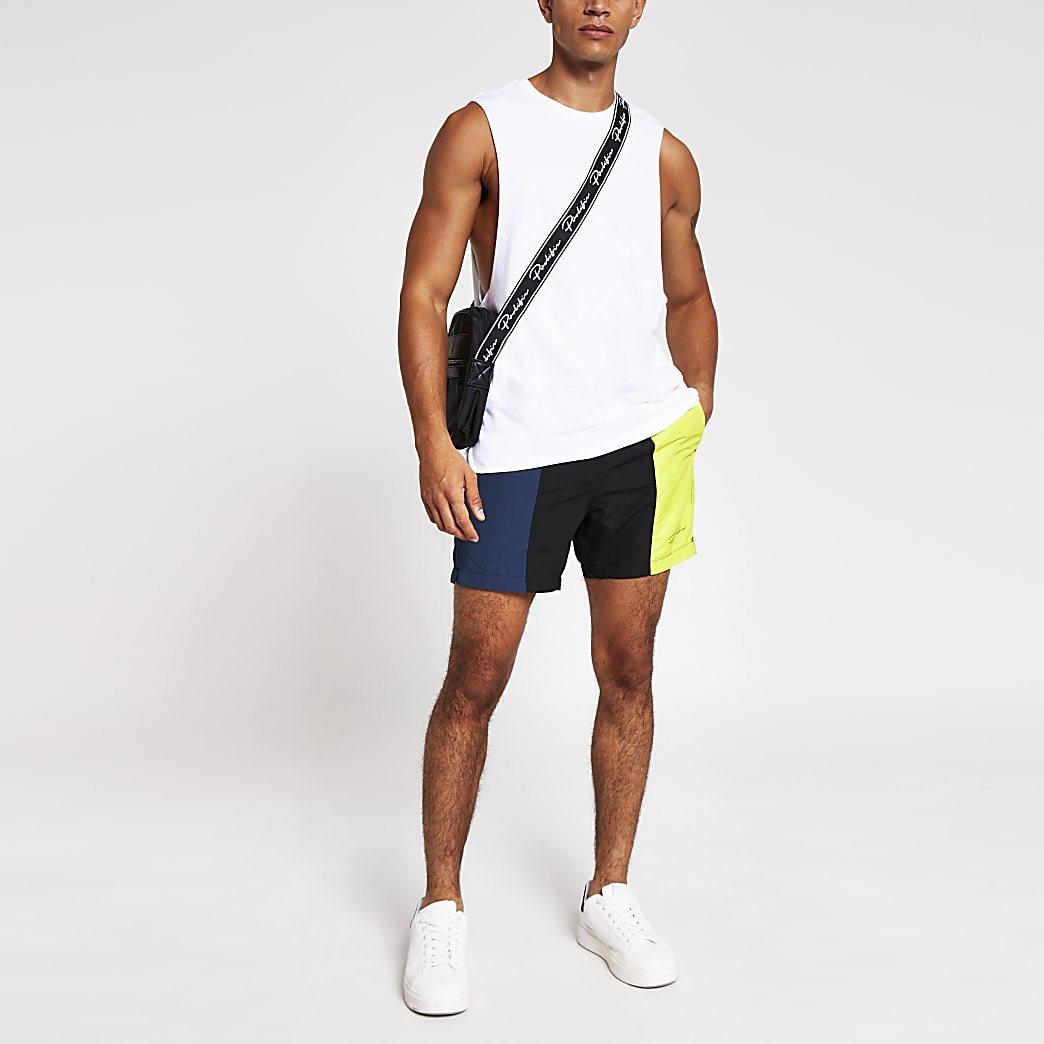Prolific black colour block swim shorts
