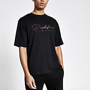 Prolific - Zwart geborduurd oversized T-shirt
