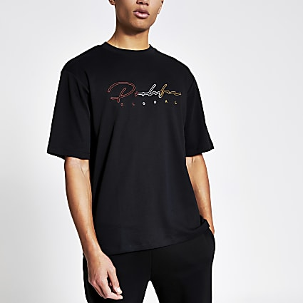 Prolific black embroidered oversized T-shirt