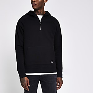 Prolific - Zwarte slim-fit hoodie met halve ritssluiting