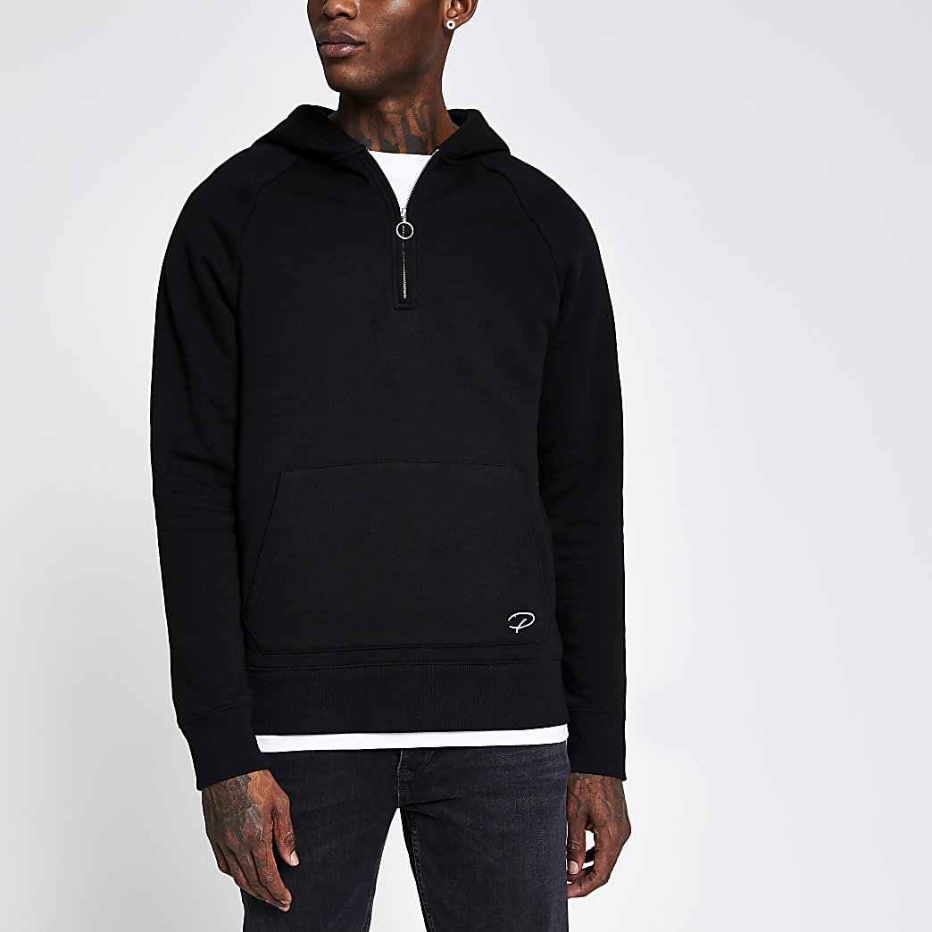 Prolific black half zip slim fit hoodie