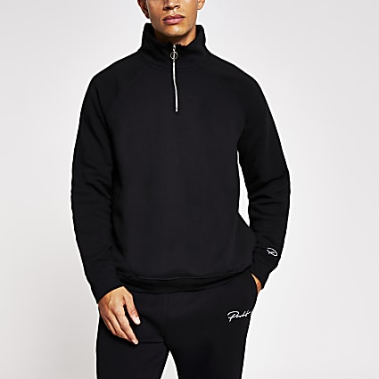 Prolific black half zip slim fit sweatshirt