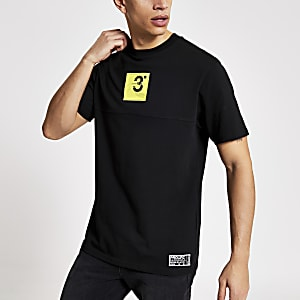 Prolific - Zwart regular-fit T-shirt met logo-print