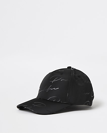 Prolific black monogram nylon cap