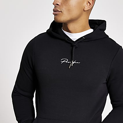 Prolific black muscle fit hoodie