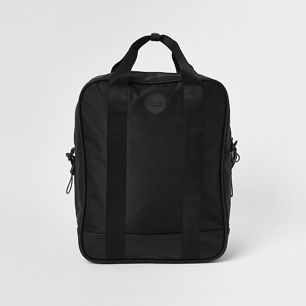 Prolific black nylon square backpack