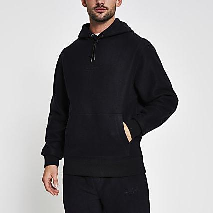 Prolific black regular fit fleece hoodie