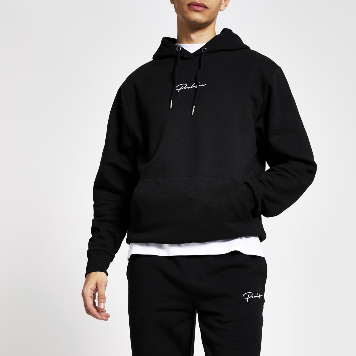 Prolific black regular fit hoodie