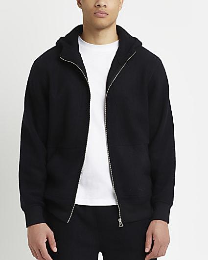 Prolific black regular fit zip through hoodie