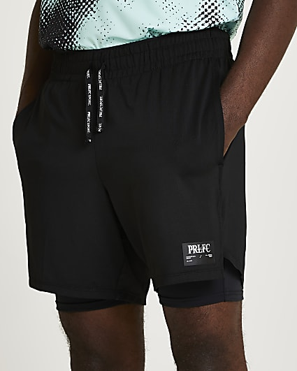 Prolific black slim fit active 2 in 1 shorts