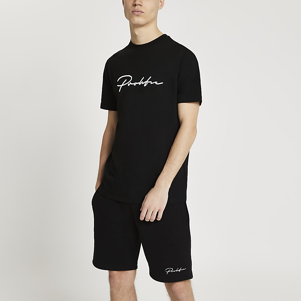 Prolific black slim fit embroidered t-shirt