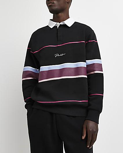 Prolific black slim fit striped polo shirt