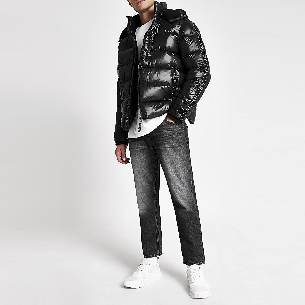 Prolific black tape hooded puffer jacket